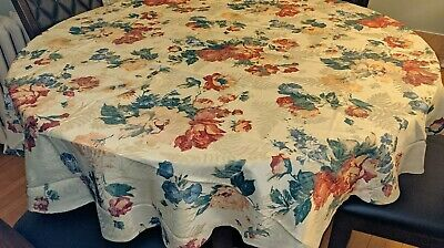"""Gorgeous 70"""" Round Floral Shabby Chic Style Cloth Tablecloth Pink Roses"""