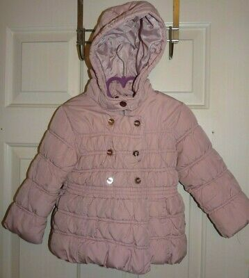Next girls pink padded puffa coat age 2-3 years warm with hood