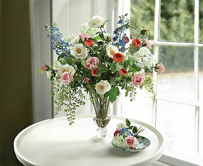 Artificial Red White Blue Pink Ranunculus Guelder Rose Flower Arrangement Vase