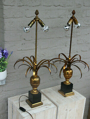 PAIR hollywood regency MAison Jansen Brass palm  leafs table lamps 1970