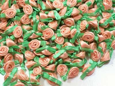 Pastel Peach Rose Appliques, Offray Small Satin Flowers X 10 pieces, Mint Green