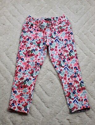 Jordache Pull On Cropped Jeggings Pink Floral Girls Size M 7-8