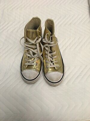 Gold Converse High Tops Size 2 And Half