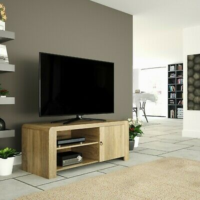 """Mahara Wood Effect TV Stand for TVs up to 55"""" with Shelving - Whitewashed Oak"""