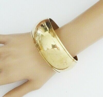 Chunky Wide Bangle Bracelet in Antiqued Gold Tone Bollywood Style