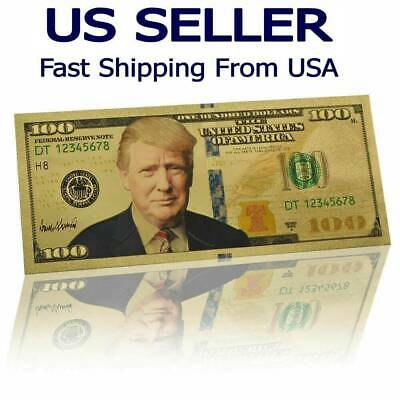President Donald Trump $100 Dollar Bill 24K Gold Plated Foil Banknote