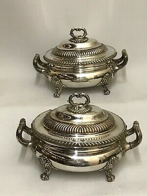 Old Sheffield Plate Pair Of Sauce Tureens Circa 1930