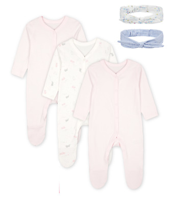 Mothercare 3 Pack Baby Girls Sleepsuits Pink Bunny + Socks + Bow Headbands BNWT