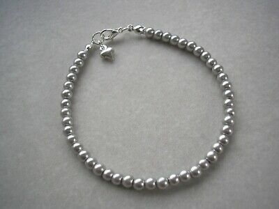 10fh Dainty Pearl Bracelet for Women Flower Girls with a Tiny Puffed Heart Charm