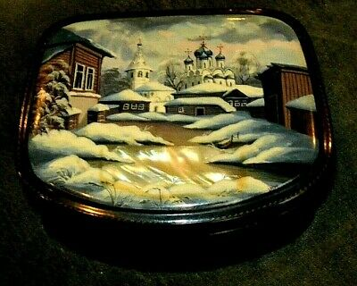 Vintage Black Enamel Lacquered Jewelry Box - European City with Mother of Pearl