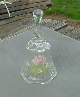 """Fenton  """"June Bell"""" - Hand Painted Bell.  Crystal With Dusty Rose Rose"""