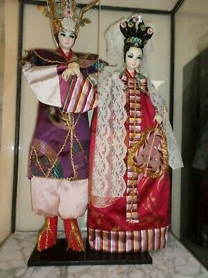 Japanese His and Her Antique Geisha Dolls in GLASS CASE