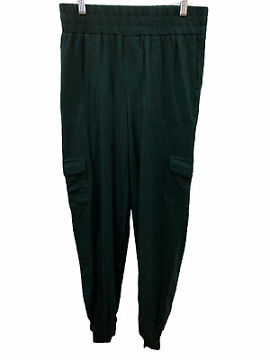 AnyBody Women's Tall Cozy Knit Cargo Pull-on Jogger Solid Pants Pine LT Size QVC