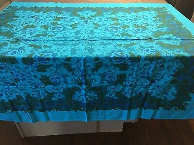 Vintage California Hand Prints Tablecloth Teal With Beautiful Pattern