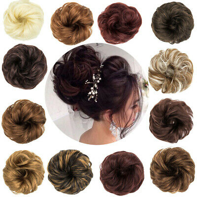 Natural Human Messy Bun Scrunchie Hairpeice Curly Chignon Updo Hair Extension AU