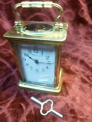 Carriage Clock--1900-Famous Jeweler From L.a(S. Nordlinger)-Serviced-All Orig.