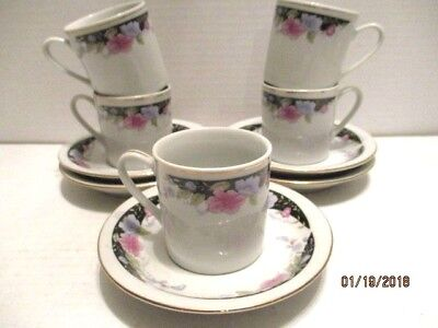 Set 5 Chinese Porcelain Demitasse Blue Pink Floral Cups and Saucers