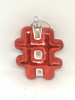 New Hashtag Sign Handblown Glass Christmas Tree Ornament Whimsical Red