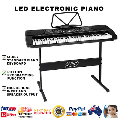 61 Keys Electronic Piano Keyboard LED Music Electric Holder Stand Adaptor Alpha