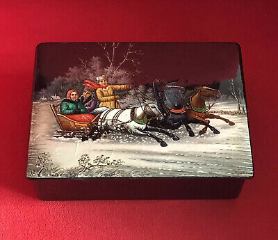 Antique Russian Hand Painted Lacquer Box Signed