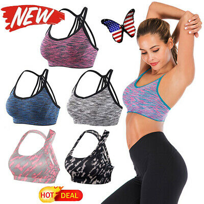 Women/'s Yoga Gym Bra Back Triple Criss Cross Caged Strappy Tops Bralette Padded