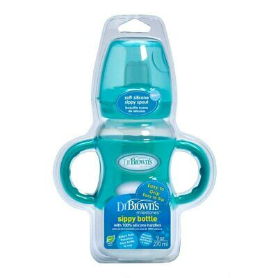 Dr Brown's Milestones Transition Wide Neck Sippy Bottle 270ml Turquoise