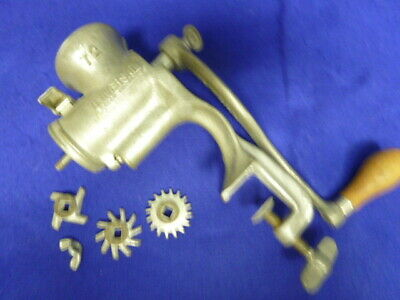 Vintage Never used Universal 72 Clamp Hand Crank Meat Grinder Wooden Handle