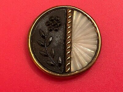 WOW! Antique Glass Button Set in Metal Camphor Pleated Fan Design, Black Flower