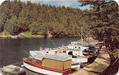 IRONWOOD MI 1951 View of Black River Harbor with all the Boats VINTAGE MICH 554