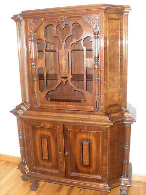 Antique Mahogany China Cabinet, Hand Carved, Over 100 years Old