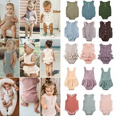 UK Toddler Baby Girl Boy Kid Cotton Clothes Romper Jumpsuit Bodysuit Outfit Tops
