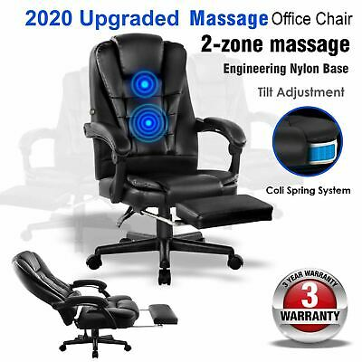 Office Chair Massage chairs Black PU leather gaming computer desk recliner seat