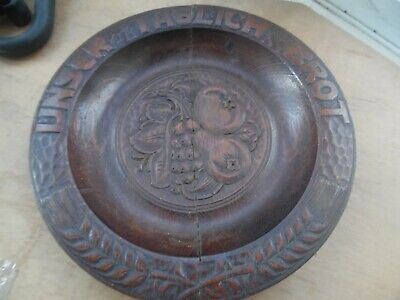 Antique Black Forest German Wooden Carved Motto Plate