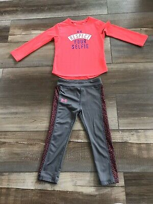 Under Armour Pink Gray Girls Toddler Outfit Size 3T 💖EUC💖