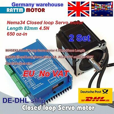 【EU ship】 2 Set 4.5N.m Nema34 Closed Loop Servo Motor 82mm+HSS86 Driver CNC Kit