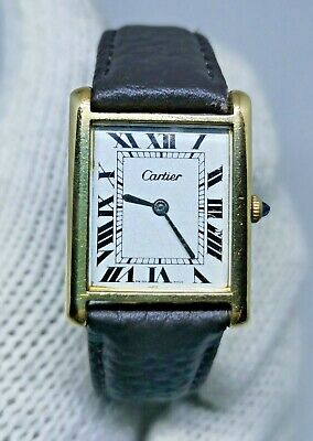Vintage 18K GOLD PLATED Antique Art Deco CARTIER TANK Mens Watch Working