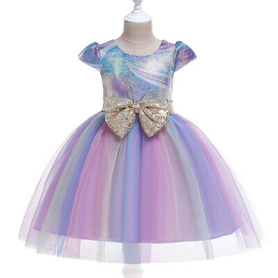Kids Girls Baby Toddlers Tulle Tutu Dress Rainbow Bow-Knot Bridesmaid Prom Dress