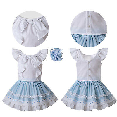 Spanish Kids Girls Blouse + Skirt Outfits Wedding Party Pageant Summer Casual