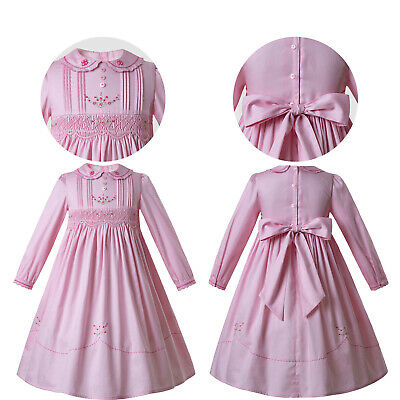 Kids Girls Smocked Pink Long Sleeve Dress Embroidered Peter Pan Collar Bow Party