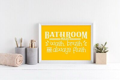 Bathroom Quotes Funny Restroom Wall Art Toilet Humour Prints Yellow & White