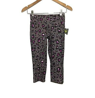 Old Navy Active Animal Print Cropped Pants Girls Size 8 Mid Rise Gray Purple NWT