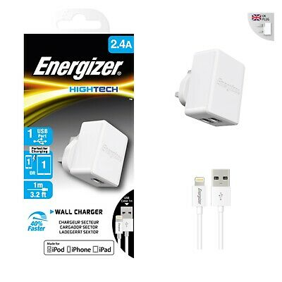 Energizer HighTech Walls Chargers iPhone Lightening Cable  2.4A ACA1BUKHL13