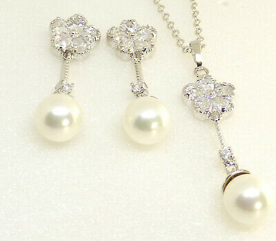 White Gold Plated Shell Pearl CZ Cubic Flower Dangle Earrings Necklace Set UK