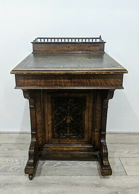 19thC Stunning Oak Carved Davenport Writing Desk Burr Walnut Interior