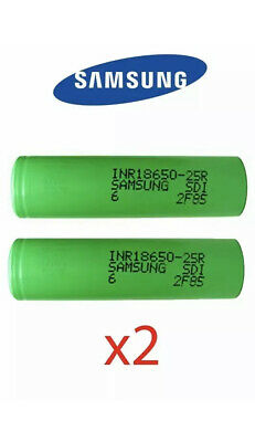 2x Samsung INR18650 25R 2500mah 3.7V 35A INR Rechargeable Vape Genuine Batteries