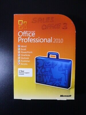 Microsoft Office 2010 Professional Pro Word Excel Outlook Publisher Access DVD