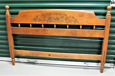Antique Heywood Wakefield Stenciled Spindle Full Double Bed Frame with Rails