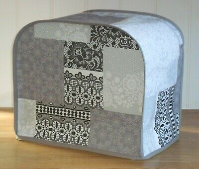 Grey Edged Patchwork Lace Effect Vinyl Dust Cover for KENWOOD PROSPERO Mixers