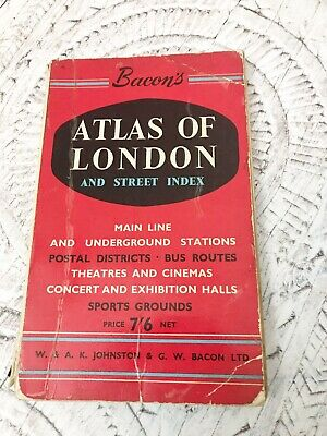 Vintage Rare Bacons 1959 London Atlas 47 Maps  By Bacon