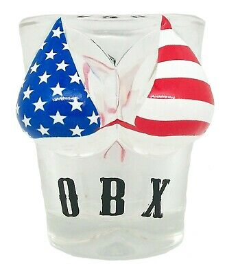 Outer Banks OBX with American Flag Bikini Shot Glass